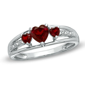 5.0mm Heart-Shaped Garnet and Diamond Accent Three Stone Promise Ring in 10K White Gold