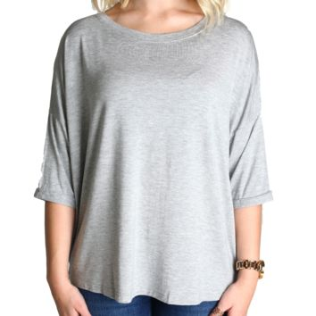 Heather Grey Piko Loose Sleeve Top