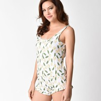 White & Yellow Pineapple Express Sleep Romper