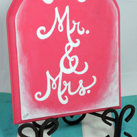 Wedding Sign, Mr and Mrs Art, Reception Decoration, Love Bird Art, Bright Wooden Plaque, Coral Pink Painting, Wood Plaque, Shabby Chic, Gift