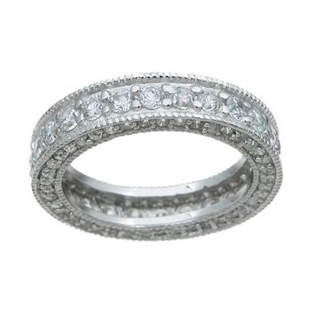 925 Sterling Silver Eternity Ring 1.5 Carat Weight - Size 9