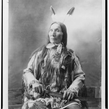 "Chief ""Yellow Hair"" Sioux Indian - Native American Chief Portrait   :Vintage Antique Old Reproduction Photograph Photo Print"
