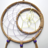 Moon and Star Dream Catcher/ Beige suede, purple moon, yellow star