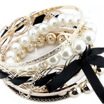 Braided Pearls & Ribbon Bangle Bracelet