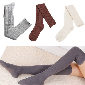 Wool Braid Over Knee Highs Socks
