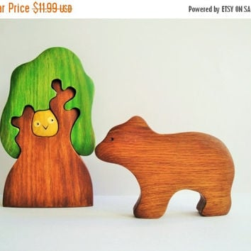 ON SALE Toy bear - Waldorf toys - Wooden Animal toy - Pretend play -Waldorf nature table - Animal figurine - Eco Friendly- Gift for toddlers