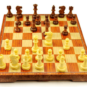 New International Chess Checkers Folding Magnetic High-grade wood grain Board Chess Game English version three Sizes