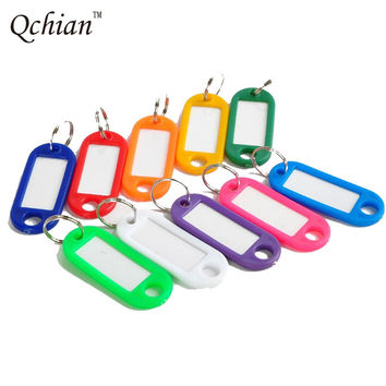 10Pcs Plastic Keychain Blank Key Ring Diy Name Tags For Baggage Paper Insert Luggage Tags Mix Color Key Chain Accessories Chains