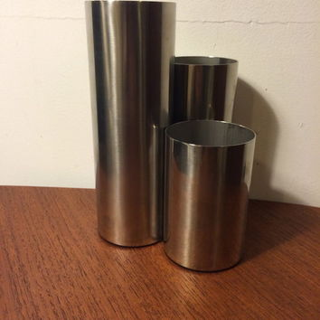 Georg Jensen Set of 3 Stainless Cylinders Denmark