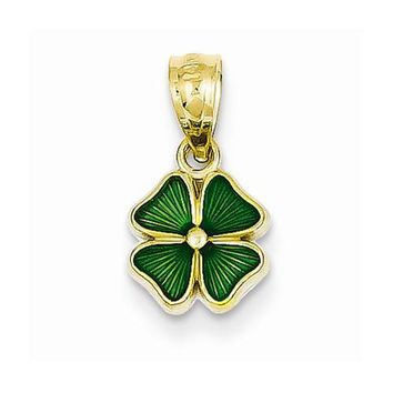 14k Gold Green Enameled Four Leaf Clover Pendant