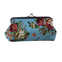 Hot 2016 New High Quality Ladies Purse Women Retro Vintage Cute Printing Flower Small Wallet Hasp Purse Coin Clutch Bag