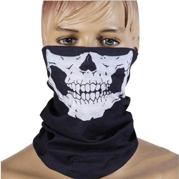 ALLOMN 1 Piece Motorcycle SKULL Ghost Face Windproof Mask Outdoor Sports Warm Ski Caps Bicycle Bike Balaclavas Scarf Waterproof