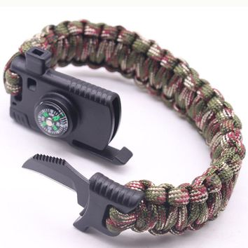 EDC Survival Paracord Bracelet For Men Outdoor Camping Hiking Buckle Wristband Women Rope Bracelet Male