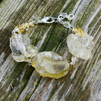 Raw Citrine Bracelet ~ Sunshine Yellow Crystals ~ Statement Bracelet ~ Healing Stones ~ One of a Kind ~ November Birthstone ~ OOAK