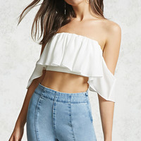 Open-Shoulder Flounce Top
