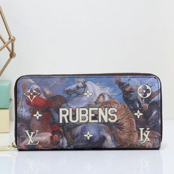 DCCKXT7 Louis Vuitton' Unisex Clutch Purse  Fashion Oil Painting Letter Pattern Print Long Section Zip Wallet