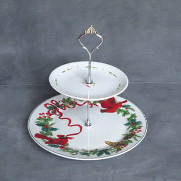 Tiered Christmas Plate, Tiered Holiday Plate Stand, Cardinal Ribbon Plate Stand, Red and Green Serving Dish 163