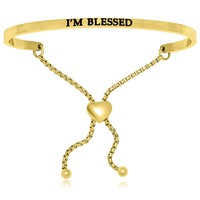 Yellow Stainless Steel I'm Blessed Adjustable Bracelet
