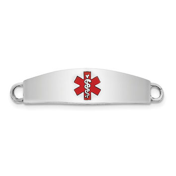STERLING SILVER RHOD-PLATED MEDICAL  ID PLATE