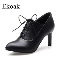Ekoak New 2018 Spring Women High Heels Party Shoes Woman Sexy Pointed Toe OL Women Pumps Fashion Lace-Up Ladies Gladiator Shoes