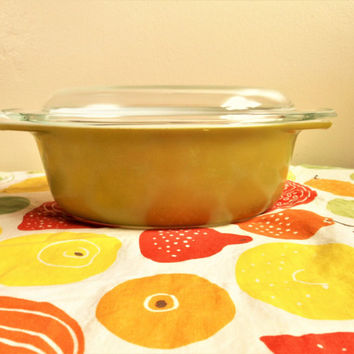 Oval Pyrex Verde 043, Olive Green Covered Dish, 1.5 Quart Casserole, Pyrex 43 Avocado Casserole