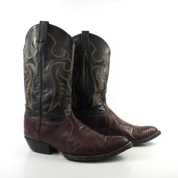 Cowboy Boots Vintage 1980s Tony Lama Leather and Lizard Boots men's size 11 1/2 D
