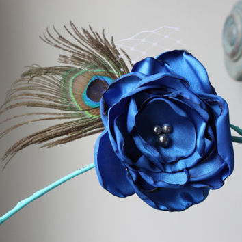 Blue Flower Hair Clip Accessory with Peacock Feather