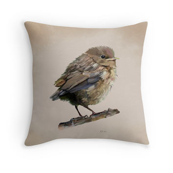 'Blackbird Fledgeling' Throw Pillow by Bamalam Art and Photography
