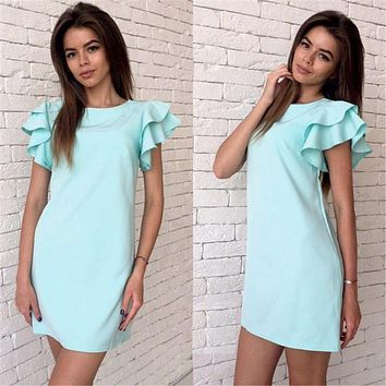 Summer Dress 2017 New Fshion Style Butterfly Sleeve Casual Dress Sexy Backless Beach Mini Casual Women's Dresses