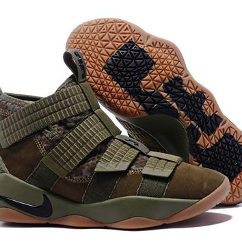 Nike LeBron Soldier 11 EP Olive Green Basketball Shoes US7-12