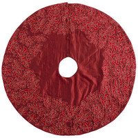 Embroidered Red Scroll Tree Skirt