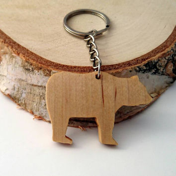 Wooden Polar bear Keychain, Walnut Wood, Animal Keychain, Environmental Friendly Green materials