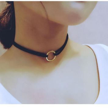 New Leather Choker Charm Necklace Vintage Hippy Chocker Leather Necklace