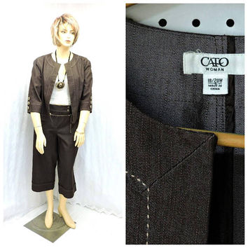 Plus size pant suit  / size 2X / 18 / 20 / 90s jacket and wide leg pants / brown denim wide leg capris matching / jacket