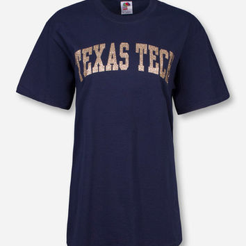 Classic Texas Tech Arch in Champagne Glitter T-Shirt
