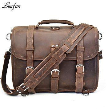 Men Thick genuine leather briefcase Laptop Large capacity crazy horse leather PC rucksack multifunctional shoulder bag