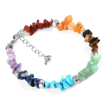Pomp Chakra Chain Natural Healing Clasp Stone Chip Chain Link Lobster Bracelets for Women by Ritzy