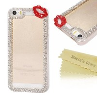Mavis's Diary for iPhone5/5s 3D Handmade Bling Crystal Sexy Lips Rhinestone Diamond Design Clear Hard Cover Case with Soft Clean Cloth (Red):Amazon:Cell Phones & Accessories
