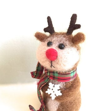 Rudolph Christmas reindeer ornament Rudolph Christmas ornaments red nose baby Rudolph wool fawn deer needle felting felted felt green cute