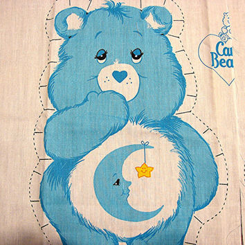 The Care Bears Fabric Panel 1980s Care Bear Cotton Fabric Sewing Panel Stuff and Sew Pillow BEDTIME BEAR