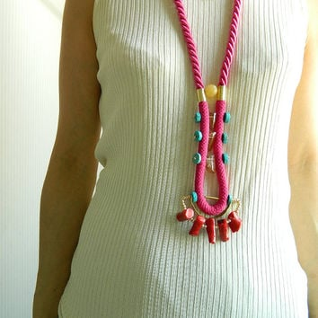 Long Boho Necklace Rope Jewelry Stone Necklace Pink Bib necklace Statement Necklace Chunky Necklace Modern Necklace Unique necklace For Her