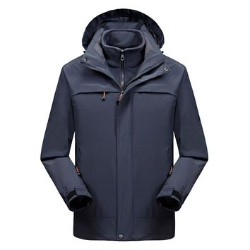 2 IN 1 Fit Jacket High Quality Waterproof Windbreaker Jacket Coat Winter Jacket Men Male Coat Rain Jacket Parka