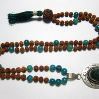 Yoga Mala Prosperity Green Jade Heart Mala Rudraksha Prayer Beads