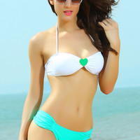 White Jewelled Bikini Top with Light Green Ruched Buttom