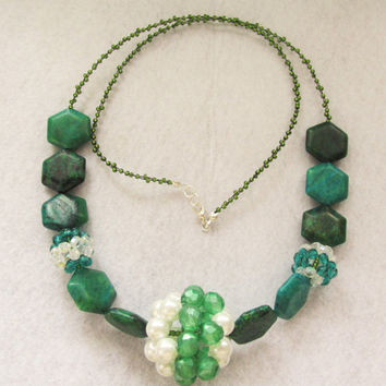 Handmade chrysocolla and green&white globe beaded necklace