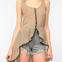 Hazel Ruffled Extreme High/Low Tank Top