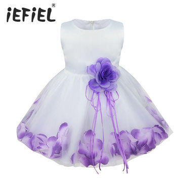 iEFiEL Infant Baby Toddler Girls Flower Petals Wedding Bridesmaid Flower Girl Formal Pageant Princess Party Dress Photo Props