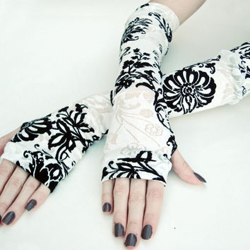 Elfin Vision- Arm Warmers burn out black and white floral print flowers jersey knit cotton whimsical stripes gothic goth belly dancing fairy