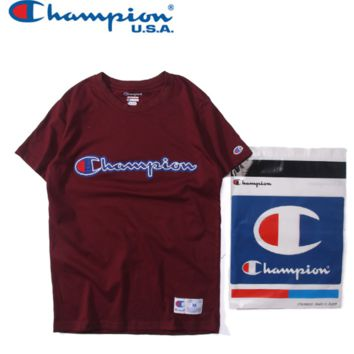"""champion"" intermediate print short sleeve  women round neck T-shirt man Cotton  pure color"