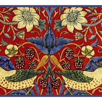 William Morris Red Strawberry Thief Detail Counted Cross Stitch or Counted Needlepoint Pattern